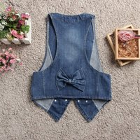 Wholesale Sequins Jean Vest - Wholesale-Fashion Blue Jean Vest For Women 2015 Newest Korea OL Style Short Jeans Vest Double Button Jean Vests Sequin Decoration #P285
