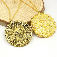 Wholesale Wholesale Aztec - Aztec Coin Pirates of the Caribbean Aztec Gold Coin Necklace Human Skull Sweater Pendant Jewelry Necklaces & Pendants hot sale free shipping