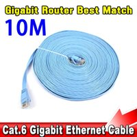 Wholesale Cat6 Ethernet - Wholesale- CAT6 RJ45 Network Cable Flat UTP 10 100 100 Mbps Ethernet Network Cable 10G Base 32AWG Bare Copper For Router DSL Modem Laptop