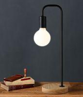 yatak odası için siyah masa lambaları toptan satış-Masa lambaları yatak odası için Vintage Amerikan Ülke Porselen Masa Lambası Edison LED Endüstriyel Halojen Retro Demir Siyah Lamba Altın E27 td-001