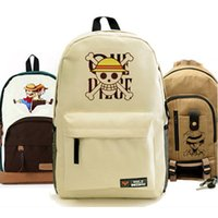 Wholesale Monkey D Luffy Cosplay - Wholesale-Anime One Piece Bag Monkey D Luffy Cosplay Backpack Fashion Khaki One Piece SchoolBag Unisex Hiking Campus Canvas Bags