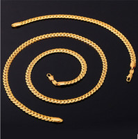 ожерелье из ожерелья оптовых-Новые Модные 18 К Штамп Ожерелье Набор Мужчин Ювелирные Изделия Оптом 18 К Настоящее Позолоченные Цепи Ожерелье Браслет Африканские Ювелирные Наборы S374
