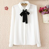 Wholesale Womens Casual Wear Tops - New blouses for women fashion elegant bow tie white blouses chiffon casual shirt office wear Ladies tops blusas femininas womens clothing