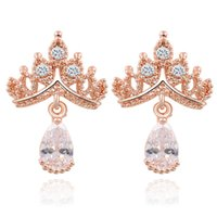 Fashion Designer Jewelry Imperial Crystal Crown Stud Reine Princesse Boucles d'oreilles pour pendientes femmes de gros CS11