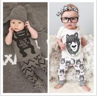 Wholesale Bowtie Cartoon Baby - Baby clothes Cute Cartoon Bowtie Bear Boys Suits Girls Outfit Summer Sets New 2016 Cotton Tops + Harem Pants 2pcs Sport Set 5869
