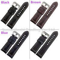 Handmade 24mm Black Brown Blue Vintage Homens Leather Watchband Strap + Stainless Buckle Replacement Watch Bracelet Para Panerai Free Shipping-113