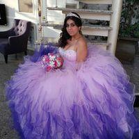 quinceanera dress lilac toptan satış-Klasik Leylak Quinceanera Elbiseler Zarif Boncuklu Gelinlik Modelleri Balo Sevgiliye Tül Vestidos De Cóctel Resmi Elbise Tatlı 16 Elbiseler