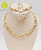 Free Shipping Dubai 18K Gold Plated Heart Shape Necklace Set Fashion Crystal Wedding Bridal Costume Jewelry Ses