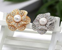 Wholesale Rose Bouquet China - Rose Gold Plated Beautiful Clear AB Rhinestone Crystal White Faux Pearl Centre Flower Wedding Bouquet Brooch