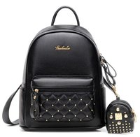 Barato Bolsas De Couro Da Escola-2017 New Fashion Women PU Leather Small Mochilas Travel Mochila Bolsas Bolsas escolares