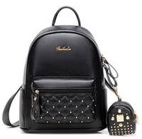 Wholesale Tartan Backpack Leather - 2017 New Fashion Women PU Leather Small Backpacks Travel Rucksack Handbags School Bag