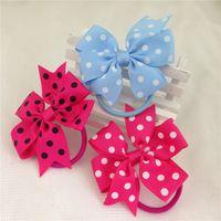 Wholesale Polka Dot Elastic Ribbon - 3inch high quality ribbon polka dot hair bows with same color elastic band for kids children pony tail holder 18pcs lot