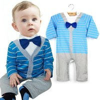 Wholesale Boys Romper Bow Tie - New Kids Baby Striped Gentleman Romper Boy Cotton Jumpsuit Clothes Outfit Bow Tie