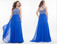 2016 Royal Blue più abiti di promenade di formato Long Lilac Keyhole Neck Empire Waist Halter Abiti convenzionali Beaded Backless Prom Dress Aqua Sconto