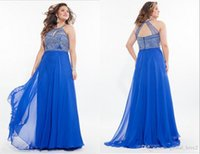 2016 Royal Blue Plus Size Prom Kleider Long Lilac Schlüsselloch Hals Reich Taille Halter Formal Gowns Perlen Backless Promkleid Aqua Discount