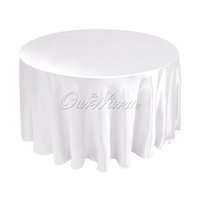 "Wholesale White Satin Round Tablecloths - Free by DHL,10 pieces,Satin Tablecloth Table Cover White Black Round for Banquet Wedding Party Decor W108"" -CTH-108"