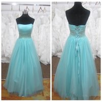 Wholesale Light Blue Strapless Bandage Dress - 2016 Real Pictures Sexy Evening Dresses Long Light Sky Blue Strapless Crystals Formal Special Occasion Party Gowns Tulle Bandage Back