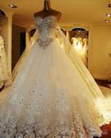 Wholesale Tulle Wedding Gown Diamond - Luxury Sweetheart Tulle Wedding Dresses Sexy Shiny Rhinestones Crystal Diamond Lace Appliques Sweep Train Bridal Gowns