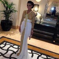 gasa vestidos formales lentejuelas al por mayor-2018 Primavera de las lentejuelas vestido de noche de los vestidos de los vestidos de noche formal Kaftan abaya en Dubai con Tren blanco del vestido formal Kaftan marroquí Kaftan