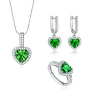 Star Harvest 2017 ultimo regalo del partito 925 sterling silver occasione artificiale zircone verde pietra semi-preziosa che ha Grade Jewelry Set