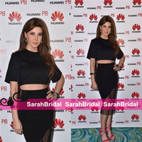 Wholesale Top Short Tight Dresses - Nancy Ajram Arabic Celebrity Casual Formal Bridal Party Dresses Two Piece 2 in 1 Crop Top Bodycon Tight Fit Club Cocktail Evening Gowns