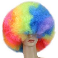 peruca marrom-amarela venda por atacado-Qqxcaiw Curry Culry Partido Peruca Vermelho Verde Puprle Rosa Preto Azul Branco Marrom Amarelo Loira Dança Afro Perucas