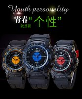 Wholesale Plastic Band Black For Watch - Fashion Silicone Band Mens Sport Wrist Watches Living Waterproof Watch For Men Boys Free Shipping