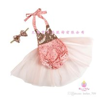 Wholesale Green Infant Diapers - 2016 New baby girl kids infant 2piece sets Sequin Golden Dots tutu skirt romper Diaper covers bloomers jumpsuits dress onesie + Bow Headband