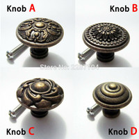 Wholesale Antique Cabinet Handles - Wholesale- 2pcs Antique brass Vintage Round Flower Furniture Cabinet Cupboard Dresser Chest Closet Drawer Door Window Handle Pull Knob
