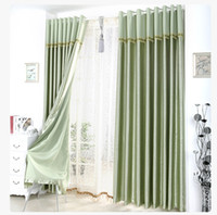 Wholesale Great Curtain - Satin Blackout Curtain Thick Shade Sunshade Blackout Cloth Curtains Living Room Bedroom Great Quality Curtains with Lace Head Drape