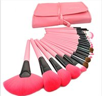 Wholesale Professional Makeup Brushes Set Pink - 24pcs professional makeup brushes 3 colors Cosmetic Brush kit tools with Wooden Wood Handle Synthetic Hair Makeup Kits DHL FREE SHIP