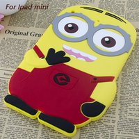 Wholesale Despicable Design Back Case - Free shipping new design rubber cartoon silicone despicable Me 3D Minions soft back protective tablet case cover for iPad mini