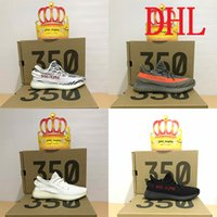 Wholesale Cheap Dhl Shoes - 2018 cheap Sply 350 v2 boost White Dark Green Beluga Copper  Black Red Core red Zebra  Black White Cream comfortable running shoes DHL