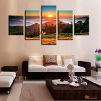 Wholesale Cheap Modern Canvas Artwork - Canvas print decorative picture sunrise scene home decoration wall art modern paintings on canvas large canvas art cheap artwork