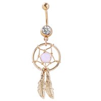 Wholesale Romantic Dreaming - 0008-4 Dream Catcher Dangle 10 pcs clear color stones Belly Rings Navel naval Wholesale Lot drop shipping