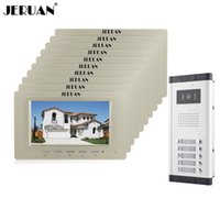 JERUAN Großhandel Brand New Home Intercom System 10 Monitore Verdrahtete 7