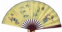 "Wholesale Silk Embroidery Crafts - 8"" Handmade Folding Silk Cloth Fan Wedding Party Favor Ethnic Dance Show Props Hand held Bamboo Fans Crafts Gift"