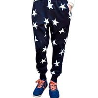 Wholesale metrosexual pants for sale - Group buy Splendid New Metrosexual Required Men Star Printing Cross Hanging Crotch Leisure Wei Dance Hip Hop Pants