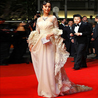 Wholesale 16 Floor Fans - New 2015 Bing Bing Fan Square Ruffles Lace Long Sleeves Elegant A Line Long Natural Waist Prom Vestidos Celebrity Gowns Evening Dresses