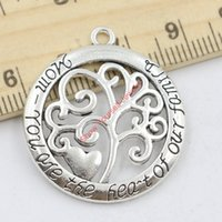 Wholesale Handmade Jewelry For Sale - 10pcs Hot Sale Antique Silver Tree of Life Mom You are the Heart of Family Charm Pendant for Jewelry Making DIY Handmade 32x28mm Jewelry mak