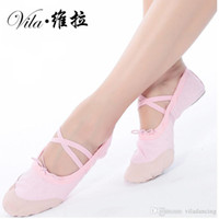4 Color Womens Professional Soft Flats Peep Toes Ballet Sapatos de dança Ladies Girls Belly Dancing Shoes