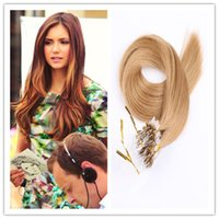 Wholesale Extensions Ring Micro Blonde 24 - 8A Grade Natural Micro Ring Hair Extensions Loop Hair Russian remy fusion hair 1G S 100G PC 300G LOT In STOCK Free Shipping