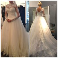Wholesale Hc Dresses - 2015 Sexy A-Line Wedding Dresses New Sheer Lace Long Sleeves Backless High Neck Tulle Applique Beaded Court Train Bridal Gowns HC-031