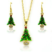 Wholesale Olive Tree Wholesale - New Arrival Fashion Christmas Jewelry Sets Gold Plated Elegant Christmas Tree For Women Earrings Necklace Set Wholesale
