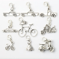 Wholesale Bike Charms - Star Tire Racing Car Bike Motorcycle 100pcs lot 8Styles Antique Silver Charms Heart Floating Lobster Clasps Glass C264-C573