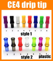 Wholesale Ce4 Mouth - Plastic ce4 mouth tips e cig tips ecig accessories flat driptips for e cigarette atomizer ce4+ ce5 with o-ring metal ring 2015 FJ184