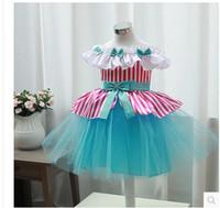 Wholesale Graduation Uniform - Small cuhk TongPing shoulder bowknot blue uniforms Little girls birthday evening dress A chorus of children's princess dress