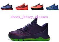 Wholesale Cheap Kd V Shoes - Kd8 Suit V-8 Hyper Cobalt Cheap Kids Basketball Shoes Kd 8 VIII USA Kevin Durant Hunt's Hill Sunrise Bright Crimson Sneakers Children Shoes