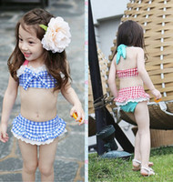 Wholesale Wholesale Bathing Suits For Kids - Summer Baby Swimsuit Bikini Infantil Swim Bathing Suit Skirt Costume Swimwear Straps Plaid Printed For Girls Kids ruffled swimwear swimsuit