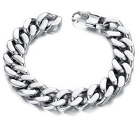 Wholesale Cuban Link Wholesale - 10 12 14mm Curb Cuban Stainless Steel Bracelet Mens Chain Clasp Link Bracelets Silver Tone Jewelry Gift Promotion